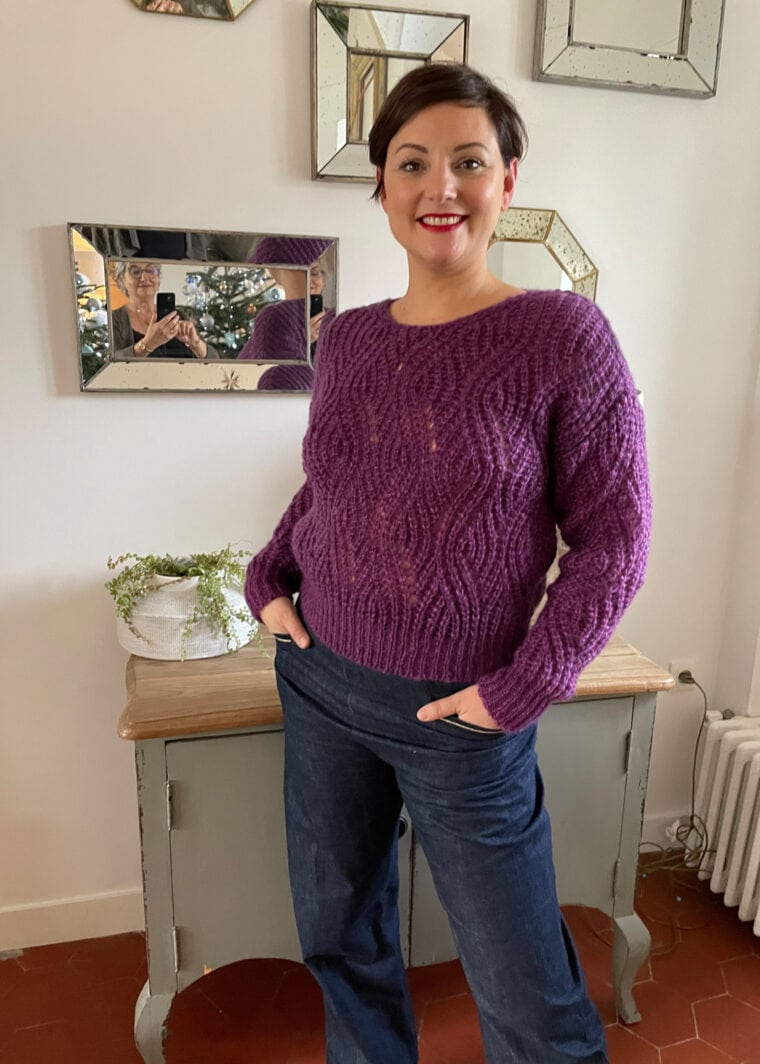 Maille Pull Kid Mohair Et Soie Violet Taille S