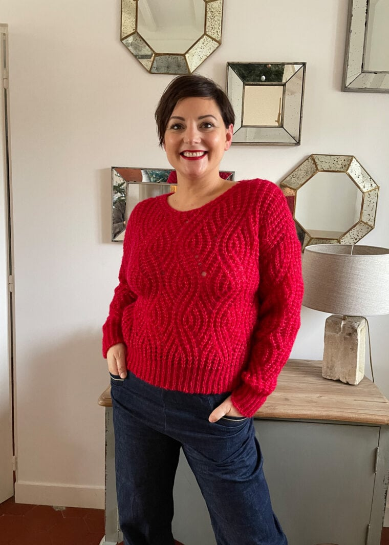 Maille Pull Kid Mohair Et Soie Rouge Taille S