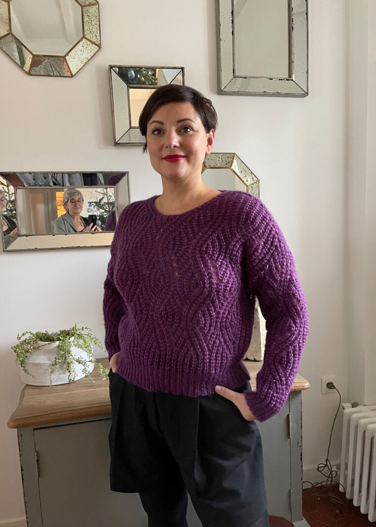 Maille Pull Kid Mohair Et Soie Taille M Violet