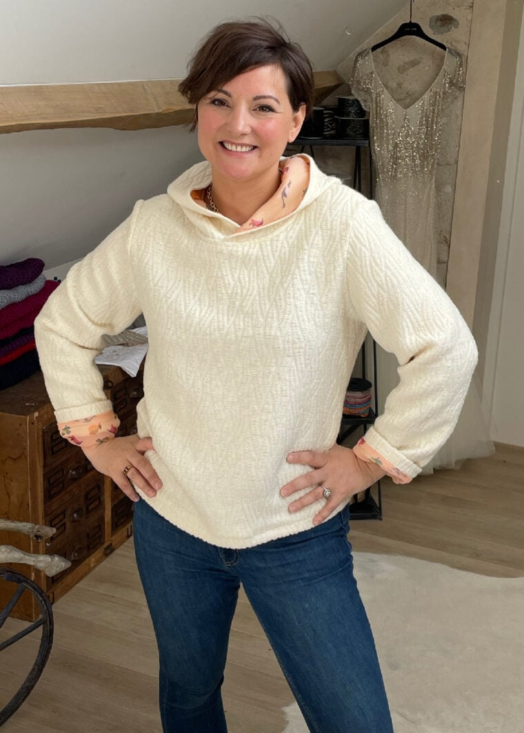Sweat Upcycling Haute Couture Laine Soie NINA N4