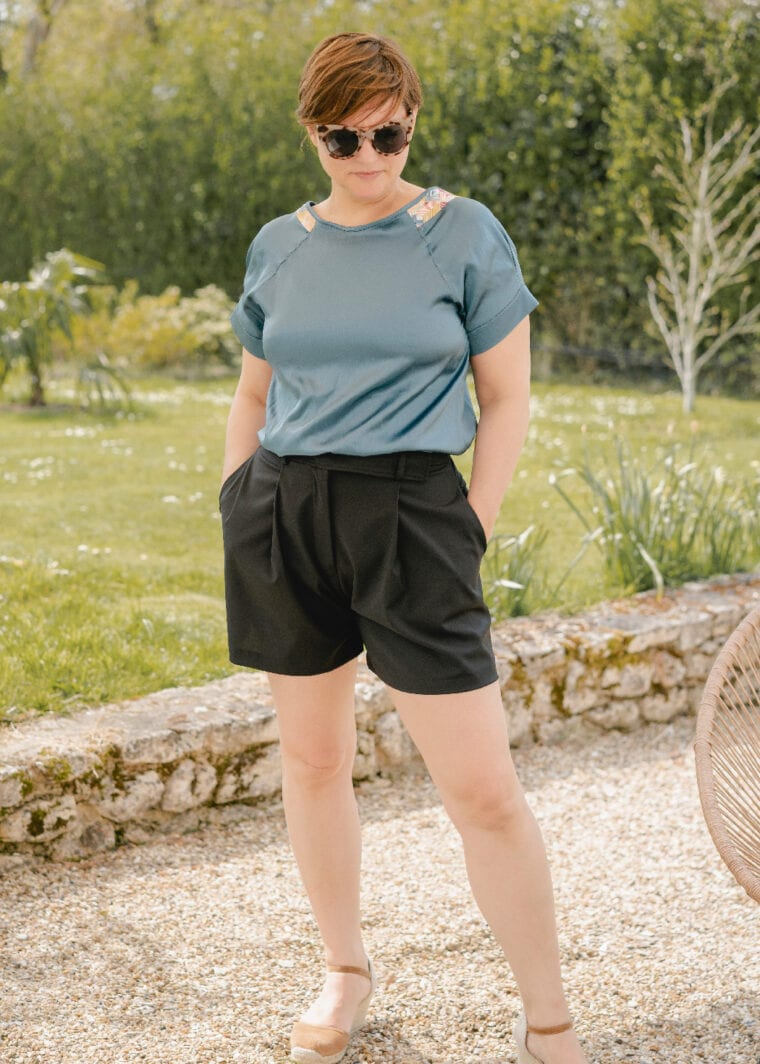 Alber Short Plisse Taille Haute Noire Upcycling Made In France