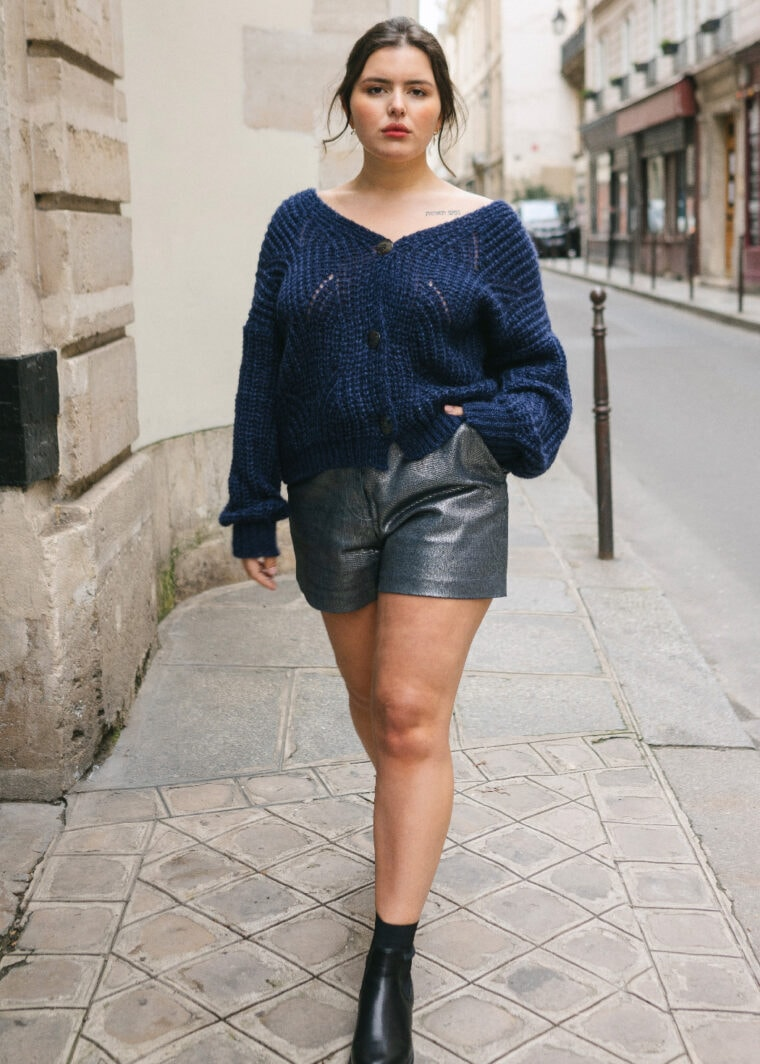 Billie Short Denim Argente Ample Taille Haute Upcycling Made In France